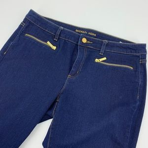 Michael Kors Gold Zipper Skinny Jeans